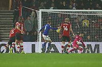 Football - 2019 / 2020 Premier League - Southampton vs. Leicester City<br /> <br /> Jamie Vardy of Leicester City pounces to make it 5 before half time at St Mary's Stadium Southampton<br /> <br /> COLORSPORT/SHAUN BOGGUST