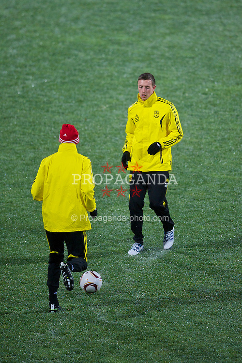 BUCHAREST, ROMANIA - Wednesday, December 1, 2010: Liverpool's Danny Wilson training at the Stadionul Steaua ahead of the UEFA Europa League Group K match against FC Steaua Bucuresti. (Pic by: David Rawcliffe/Propaganda)