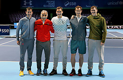 (from left) Tim Henman, Mansour Bahrami, Roger Federer, Andy Murray and Jamie Murray on court ahead of the Andy Murray Live Event at the SSE Hydro, Glasgow.