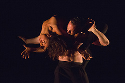 """© Licensed to London News Pictures. 22/06/2014. London, England. Navala Niku Chaudhari and Damien Fournier perform """"Sin"""". Dress rehearsal of Eastman-Sidi Larbi Cherkaoui's """"4D"""". 4D is part of Sadler's Sampled, a two week taster festival of dance at low prices (standing tickets from GBP 8), which runs to 29 June 2014 at Sadler's Wells, London. Photo credit: Bettina Strenske/LNP"""