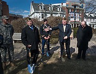 DOYLESTOWN, PA - MARCH 24:  Rich Scott (2nd from right) makes remarks as Bucks County Commisioner Charles Martin (R) along with retired and active military personnel stand by during the Groundbreaking for the Global War on Terrorism memorial March 24, 2014 in Doylestown, Pennsylvania. (Photo by William Thomas Cain/Cain Images)