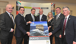 Attending the Mayo Business Appreciation evening at Mount Falcon Ballina Co Mayo, from left Peter Hynes CEO Mayo County Council, Martin Shanahan IDA, An Taoiseach Enda Kenny TD, Barry Egan Enterprise Ireland, Joanne Grehan Investment Unit Mayo County Council, Steve &Oacute; C&uacute;l&aacute;in CEO Udaras na Ghaeltacht and David Minton Mayo County Council Mayo Business Appreciation evening at Mount Falcon Ballina Co Mayo.<br /> Pic Conor McKeown