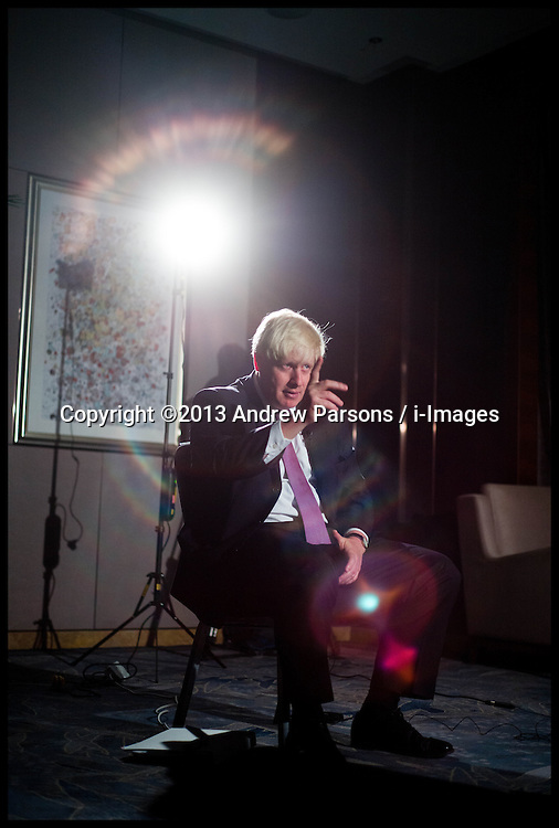 The London Mayor Boris Johnson during an interview with CCTV in Beijing, China, on Day 2 of The Mayor's 6 day trip to China, Monday, 14th October 2013. Picture by Andrew Parsons / i-Images
