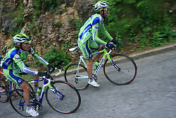 Franco Pellizotti of Italia (Liquigas) and Andrea Noe of Italia (Liquigas) during 3rd stage of the 15th Tour de Slovenie from Skofja Loka to Krvavec (129,5 km), on June 13,2008, Slovenia. (Photo by Vid Ponikvar / Sportal Images)/ Sportida)