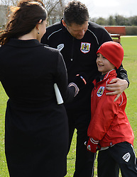 Bristol City manager, Steve Cotterill and Connor are interviewed by Sky Sports - Photo mandatory by-line: Dougie Allward/JMP - Mobile: 07966 386802 - 01/04/2015 - SPORT - Football - Bristol - Bristol City Training Ground - HR Owen and SAM FM
