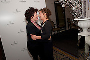 RUBY WAX,; ZOE WANAMAKER;  Veuve Clicquot Tribute award dinner for Ruby Wax for her outstanding contribution to the greater understanding of mental illness in the UK. Berkeley Hotel, London. 25 November 2011.