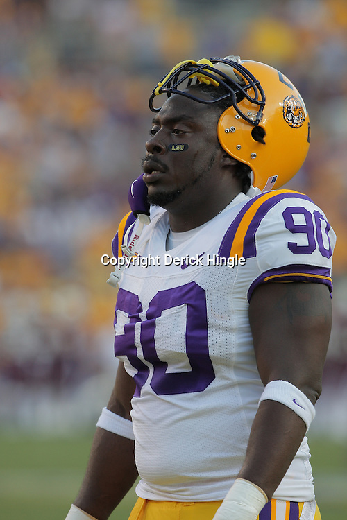 27 September 2008:  LSU defensive tackle Ricky Jean-Francois (90) in action during the Mississippi State Bulldogs versus the LSU Tigers game at Tiger Stadium in Baton Rouge, LA.