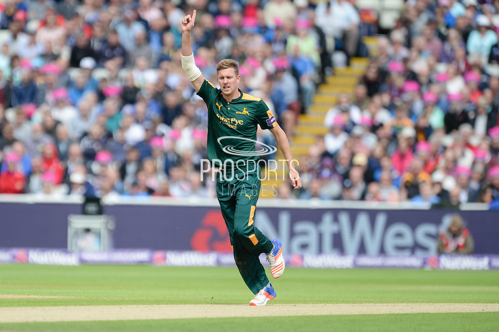 Jake Ball of Notts Outlaws celebrates the wicket of Ben Duckett during the NatWest T20 Blast Semi Final match between Nottinghamshire County Cricket Club and Northamptonshire County Cricket Club at Edgbaston, Birmingham, United Kingdom on 20 August 2016. Photo by David Vokes.