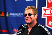 FOXBOROUGH, MA - SEPTEMBER 9:  Elton John at a press conference prior to his performance at the New England Patriots opening game against the Indianapolis Colts at Gillette Stadium on September 9, 2004 in Foxborough, Massachusetts. ©Paul Anthony Spinelli *** Local Caption *** Elton John