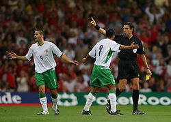 CARDIFF, WALES - Wednesday, September 8, 2004: Northern Ireland's David Healy walks off the pitch after being sent off by referee Domenico Messina during the Group Six World Cup Qualifier against Wales at the Millennium Stadium. (Pic by David Rawcliffe/Propaganda)