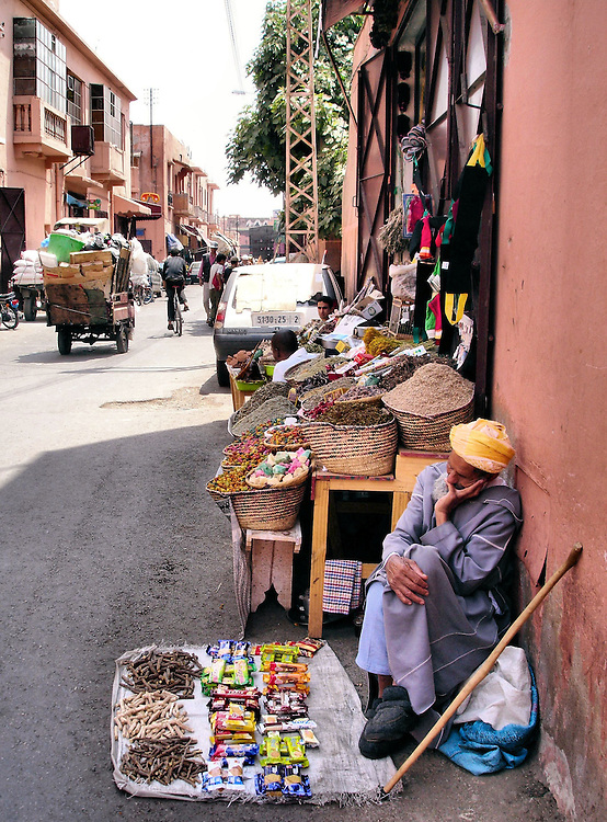 Sleeping Street Vendor in Marrakech, Morocco<br />
