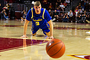 South Dakota State Jackrabbits guard Baylor Scheierman (3) watches the basketball go out of bounds during the first half of an NCAA basketball game, Tuesday, Nov. 12, 2019, in Los Angeles. USC defeated South Dakota State 84-66. (Brandon Sloter/Image of Sport)