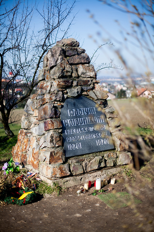 """Memorial reminding the The Battle of White Mountain which was an early battle in the Thirty Years' War fought on 8 November 1620, in which an army of 30,000 Bohemians and mercenaries under Christian of Anhalt were defeated by 27,000 men of the combined armies of Ferdinand II, Holy Roman Emperor under Charles Bonaventure de Longueval, Count of Bucquoy and the German Catholic League under Johann Tserclaes, Count of Tilly at Bílá Hora (""""White Mountain""""), near Prague (now part of the city). The battle marked the end of the Bohemian period of the Thirty Years' War and decisively influenced the fate of the Czech lands for the next 300 years."""
