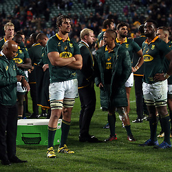 Eben Etzebeth (captain) of the Springboks reflect on the 57-0 loss after the Rugby Championship match between the New Zealand All Blacks and South Africa Springboks at QBE Stadium in Albany, Auckland, New Zealand on Saturday, 16 September 2017. Photo: Shane Wenzlick / lintottphoto.co.nz