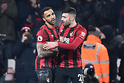 Goal - Callum Wilson (13) of AFC Bournemouth celebrates after he scores a goal to give a 3-0 lead with Diego Rico (21) of AFC Bournemouth during the Premier League match between Bournemouth and Brighton and Hove Albion at the Vitality Stadium, Bournemouth, England on 21 January 2020.