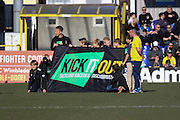 Supporting Kick it Out prior the Sky Bet League 2 match between AFC Wimbledon and York City at the Cherry Red Records Stadium, Kingston, England on 7 March 2015. Photo by Stuart Butcher.