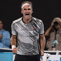 Roger Federer of Switzerland after of the men's final on day fourteen of the 2017 Australian Open at Melbourne Park on January 29, 2017 in Melbourne, Australia.<br /> (Ben Solomon/Tennis Australia)