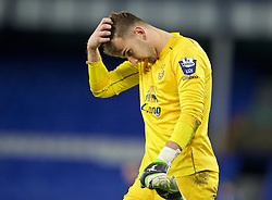 LIVERPOOL, ENGLAND - Thursday, April 30, 2015: Everton's goalkeeper Russell Griffiths looks dejected after his side's 3-1 defeat by Liverpool during the Under 21 FA Premier League match at Goodison Park. (Pic by David Rawcliffe/Propaganda)LIVERPOOL, ENGLAND - Thursday, April 30, 2015: Everton's goalkeeper Russell Griffiths looks dejected after his side's 3-1 defeat by Liverpool during the Under 21 FA Premier League match at Goodison Park. (Pic by David Rawcliffe/Propaganda)