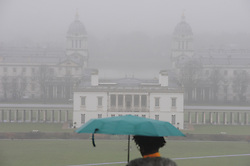 &copy; Licensed to London News Pictures.20/12/2017.<br /> GREENWICH, UK.<br /> The Queen's House.<br /> Misty wet and cold weather Greenwich Park, Greenwich.<br /> Photo credit: Grant Falvey/LNP