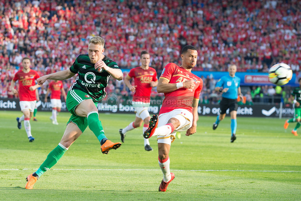 Nicolai Jorgensen of Feyenoord, Ricardo van Rhijn of AZ during the Dutch Toto KNVB Cup Final match between AZ Alkmaar and Feyenoord on April 22, 2018 at the Kuip stadium in Rotterdam, The Netherlands.