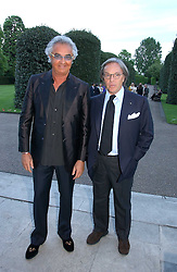 Left to right, FLAVIO BRIATORE and DIEGO DELLA VALLE at a party to celebrate the opening of Roger Vivier in London held at The Orangery, Kensington Palace, London on 10th May 2006.<br />