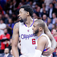 11 February 2015: Los Angeles Clippers center DeAndre Jordan (6) is congratulated by Los Angeles Clippers guard Chris Paul (3) during the Los Angeles Clippers 110-95 victory over the Houston Rockets, at the Staples Center, Los Angeles, California, USA.