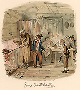 Scene from the novel 'Oliver Twist' by Charles Dickens originally published 1837-1839.  Illustration by George Cruikshank (1792-1878) showing Oliver, in front of table, a hesitant new boy in the thieves' kitchen where Fagin is cooking a meal of sausages for his team of boy pickpockets. The Artful Dodger is introducing Oliver. Chromolithograph.