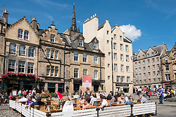 Many bars and restaurants in Grassmarket district of Edinburgh , Scotland, United Kingdom