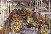 The robotics production line at the new 1.4 Billion dollar Nissan North America plant in Canton,Ms. The robots preform a variety of specialized welds to each vehicle at the plant in rapid succession to a mix of vehicles at the same time