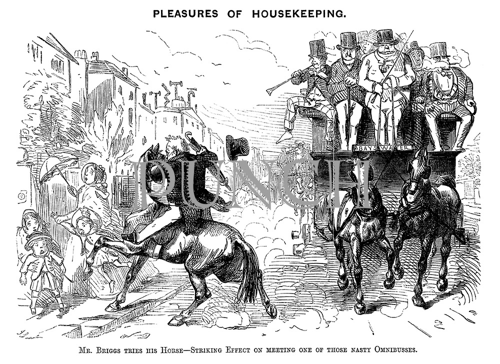 Pleasures of Housekeeping. Mr Briggs tries his Horse - Striking Effect on meeting one of those nasty Omnibusses.