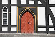 gotische Tür, historisches Rathaus, Schotten, Vogelsberg, Hessen, Deutschland | gothic door, historical guild hall, Schotten, Vogelsberg, Hesse, GermanySchotten
