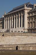 France. Paris. 1st district. quai des orfevres  on seine river and the palais de justice