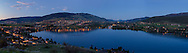 Panorama of Kalamalka, Vernon, and Coldstream in the evening from Vernon, British Columbia, Canada