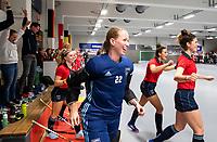 HAMBURG  (Ger) - Semi Final , match 15,  LHMC Laren v Der Club an der Alster (Ger)  (5-3) . Foto: Joyce Sombroek (Laren) with Maxime Kerstholt (Laren) after the match. . Eurohockey Indoor  Club Cup 2019 Women . WORLDSPORTPICS COPYRIGHT  KOEN SUYK