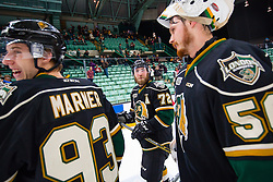 Action from Game 4 of the 2016 MasterCard Memorial Cup between the London Knights and Brandon Wheat Kings in Red Deer, AB on Monday May 23, 2016. Photo by Rob Wallator/CHL Images