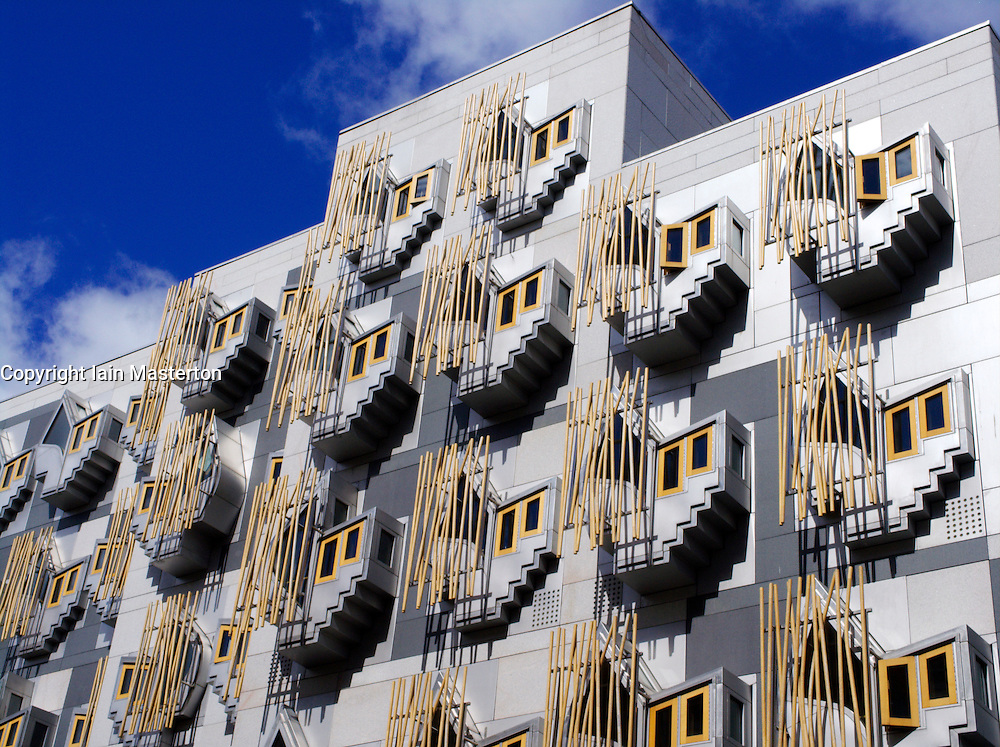 Modern architecture of new Scottish Parliament building in Edinburgh Scotland