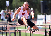 Apr 18, 2019; Azusa, CA, USA; Trent Nytes of Wisconsin runs 14.99 in the decathlon 110m hurdles at the Bryan Clay Invitational at Azusa Pacific University.