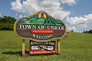 A welcome sign at the exit of Tennessee highway 173 near the entrance to the little town of Unicoi, in Unicoi County, Tennessee.