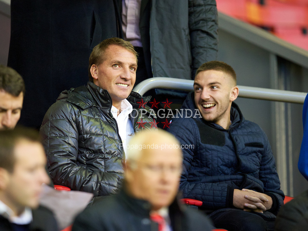 LIVERPOOL, ENGLAND - Tuesday, September 17, 2013: Liverpool manager Brendan Rodgers during the Under 21 FA Premier League match between Liverpool and Sunderland at Anfield. (Pic by David Rawcliffe/Propaganda)