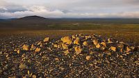 Looking over Sauðafellsalda and Öræfi. Some of this land is now flooded by Resovoir Hálslón, which is for the Kárahnjúkavirkjun Powerplant. Warm evening light and dramatic clouds.<br /> <br /> Horft yfir Sauðafellsöldu og Öræfin, yfir hluta þess svæðis sem fer á kaf undir Hálslón, í tengslum við Kárahnjúkavirkjun. Falleg kvöldbirta.
