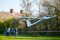© Licensed to London News Pictures. 26/03/2019. BICESTER, UK.  General view of a glider after it crashed into trees in Caversfield Park near Bicester. The pilot escaped uninjured.  Photo credit: Cliff Hide/LNP