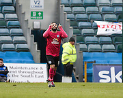 Peterborough midfielder Erhun Öztümer celebrates  his goal to make it 1-0 to Peterborough during the Sky Bet League 1 match between Gillingham and Peterborough United at the MEMS Priestfield Stadium, Gillingham, England on 23 January 2016. Photo by David Charbit.