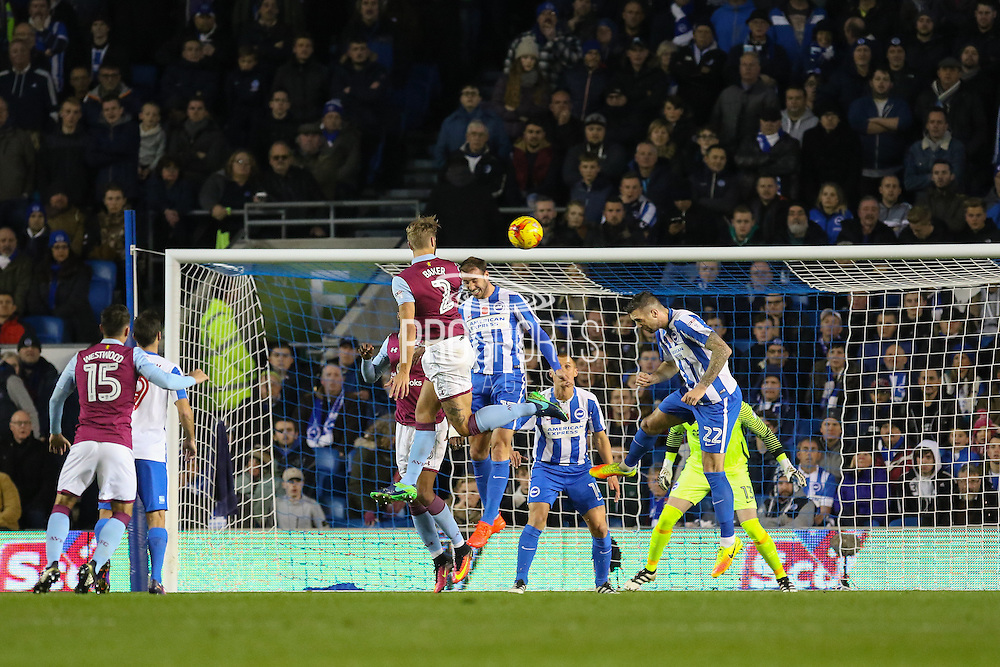 Aston Villa defender Nathan Baker (2) heads the first goal 0-1 during the EFL Sky Bet Championship match between Brighton and Hove Albion and Aston Villa at the American Express Community Stadium, Brighton and Hove, England on 18 November 2016. Photo by Phil Duncan.