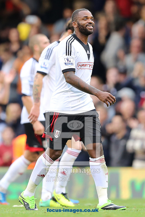 Picture by Richard Calver/Focus Images Ltd +447792 981244<br /> 05/10/2013<br /> Winning goalscorer, Darren Bent of Fulham at the end of the Barclays Premier League match against Stoke City at Craven Cottage, London.