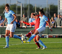 Bristol Academy captain Sophie Ingle and Manchester City Women's Kathleen Radkte compete for the ball - Photo mandatory by-line: Paul Knight/JMP - Mobile: 07966 386802 - 18/07/2015 - SPORT - Football - Bristol - Stoke Gifford Stadium - Bristol Academy Women v Manchester City Women - FA Women's Super League