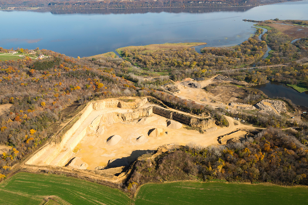 Aerial view of a limestone quarry along the Mississippi River north of Dubuque, Iowa.