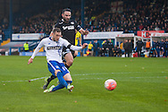 Danny Mayor of Bury strikes his sides second goal during the FA Cup match at Gigg Lane, Bury<br /> Picture by Matt Wilkinson/Focus Images Ltd 07814 960751<br /> 07/11/2015