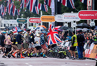 A view of the riders starting in the Brompton World Championship Final at Prudential RideLondon 29/07/2017<br /> <br /> Photo: Bob Martin/Silverhub for Prudential RideLondon<br /> <br /> Prudential RideLondon is the world's greatest festival of cycling, involving 100,000+ cyclists – from Olympic champions to a free family fun ride - riding in events over closed roads in London and Surrey over the weekend of 28th to 30th July 2017. <br /> <br /> See www.PrudentialRideLondon.co.uk for more.<br /> <br /> For further information: media@londonmarathonevents.co.uk