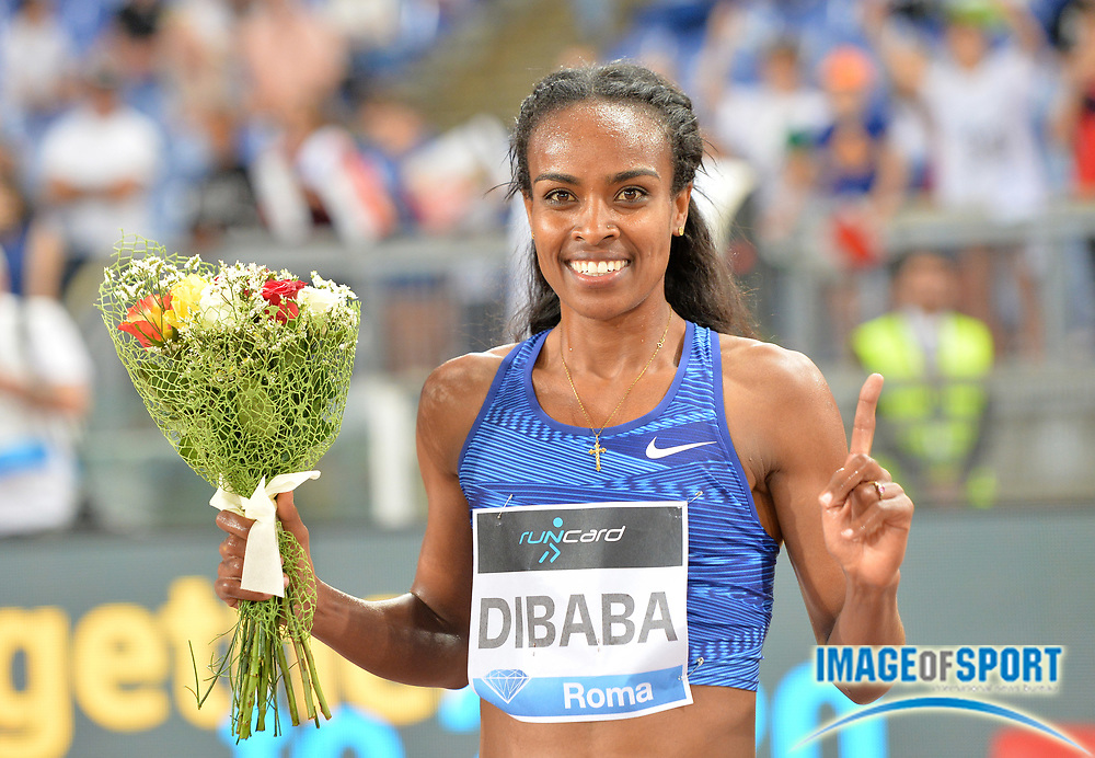 Genzebe Dibaba (ETH) poses after  winning the women's 1,500m in 3:56.28 during the 39th Golden Gala Pietro Menena in an IAAF Diamond League meet at Stadio Olimpico in Rome on Thursday, June 6, 2019. (Jiro Mochizuki/Image of Sport)