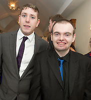 Colm Bushell GMIT and  Stephen Joyce at the Ability West Best Buddy Ball and award night at the Menlo Park Hotel Galway. Photo:Andrew Downes.